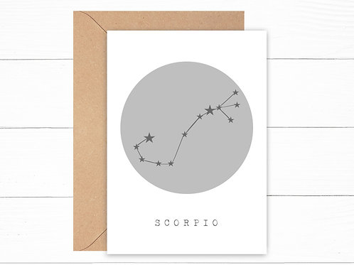 Grey Scorpio Zodiac Constellation Card