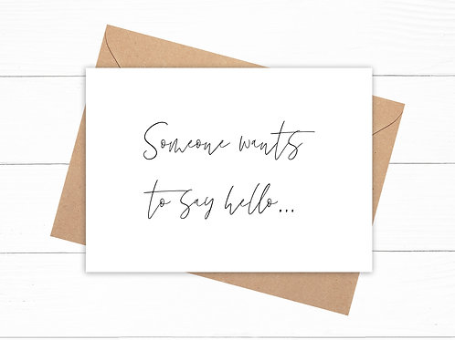 Personalised Someone Wants To Say Hello Pregnancy Announcement Card