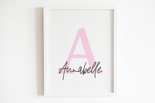 Personalised Pink Initial & Name Print