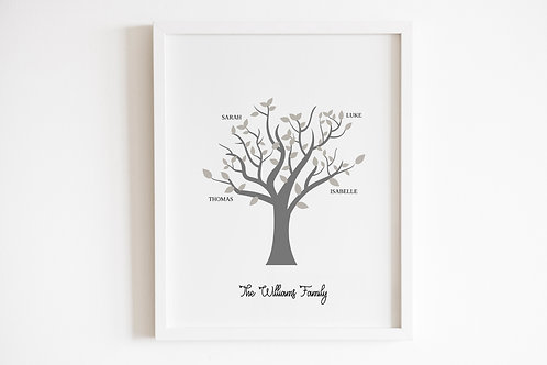 Personalised Grey Family Tree Print