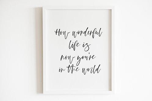 How Wonderful Life Is Print