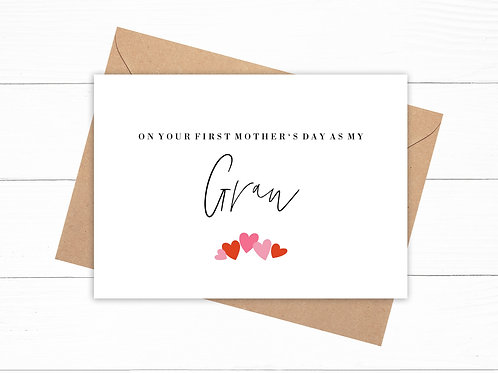 On Your First Mother's Day As My Gran Card