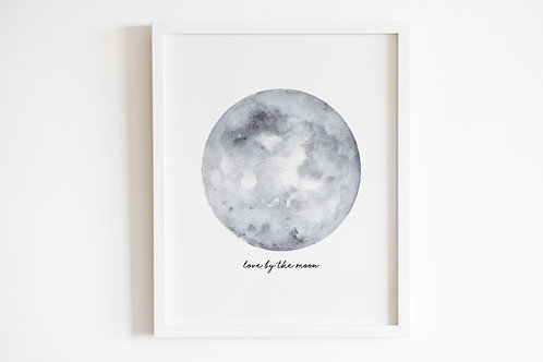 Grey Love By The Moon Print