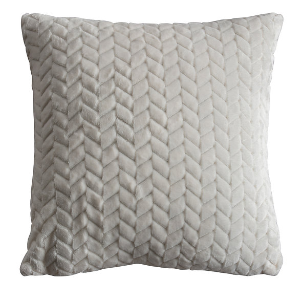 Chevron Embossed cushion in Cream