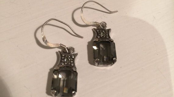 Emerald Cut Grey Drop Earrings