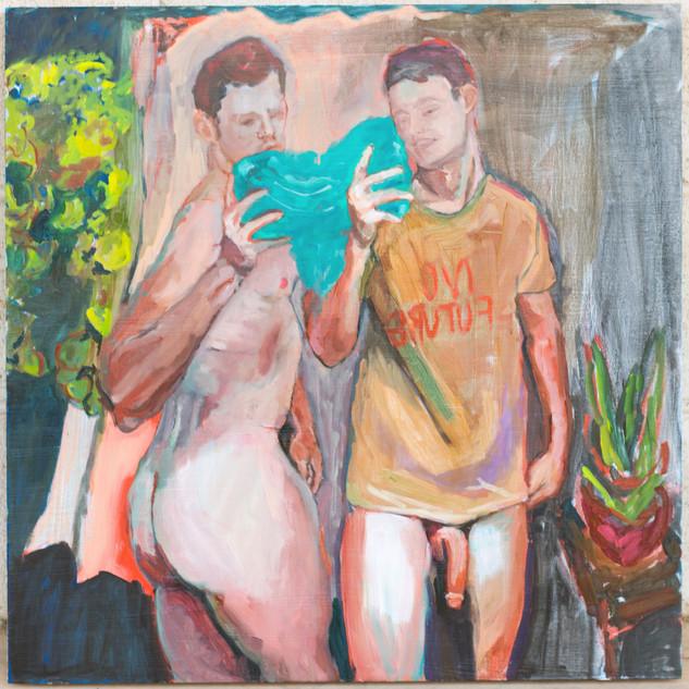 two selfies, one mirror