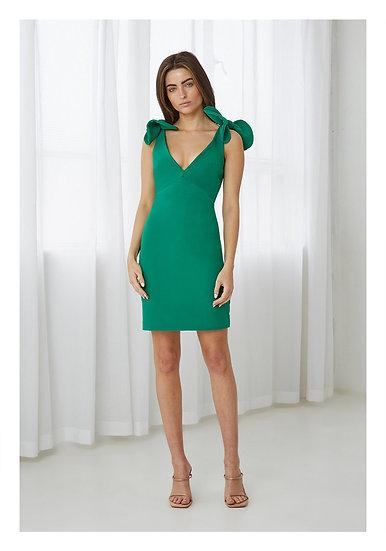 By Johnny V Plunge Bow Shoulder Dress