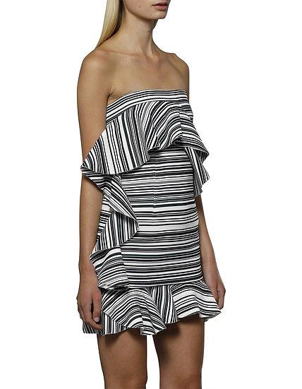 By Johnny Braith Stripe Frill Mini Dress