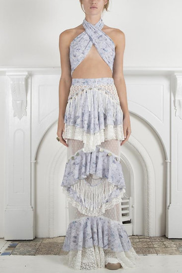 Ixiah Outlaw Beaded Skirt and Bandeau Set