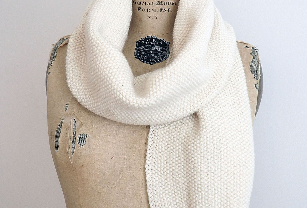 Foulard point de riz tricoté par Denise