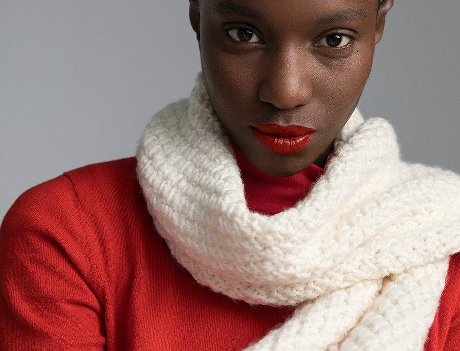 Foulard croisillons XXXL tricoté par Michèle