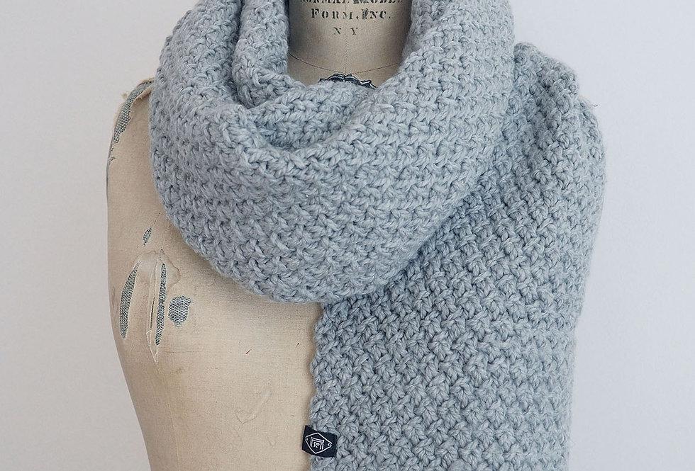 Foulard croisillons XXXL tricoté par Carole