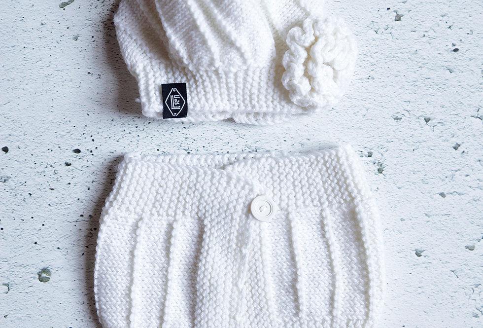 Bonnet et col à rayures tricoté par Lise D.