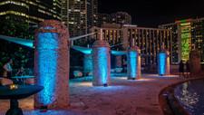 Blue Lights on Outdoor Columns