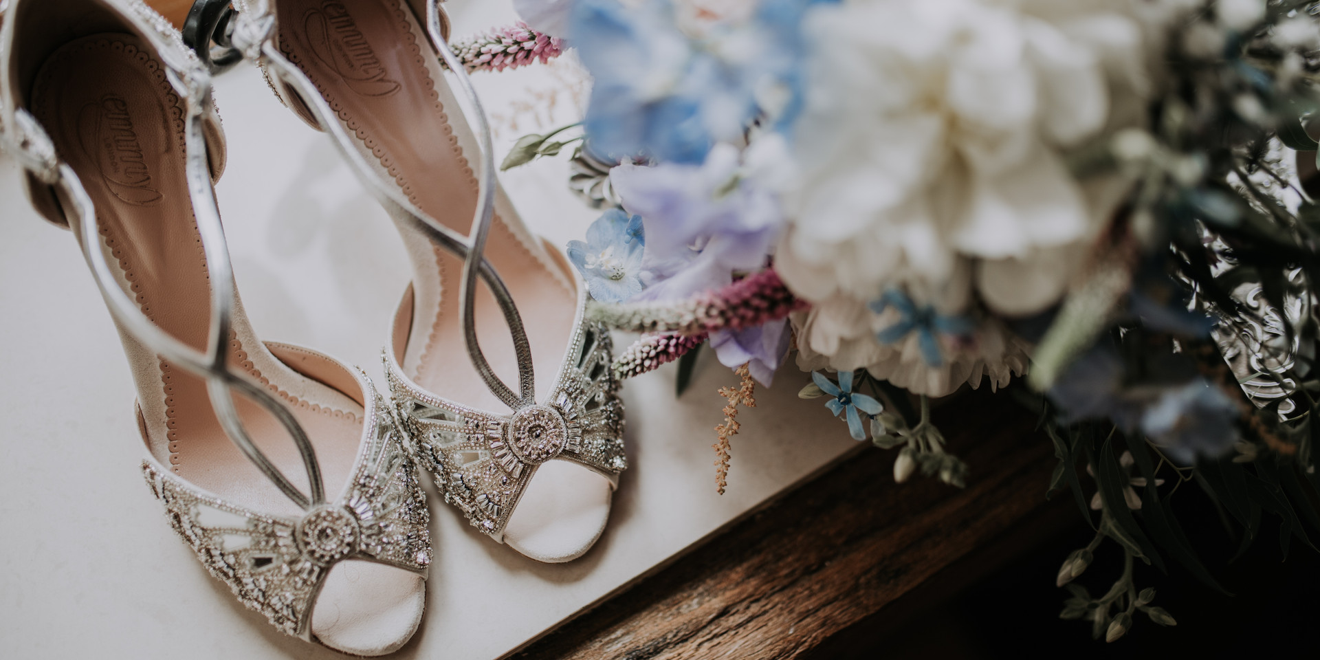 Vintage Bridal Shoes and Bouquet Wedding morning