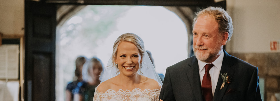 natural wedding photography with bride and father of the bride