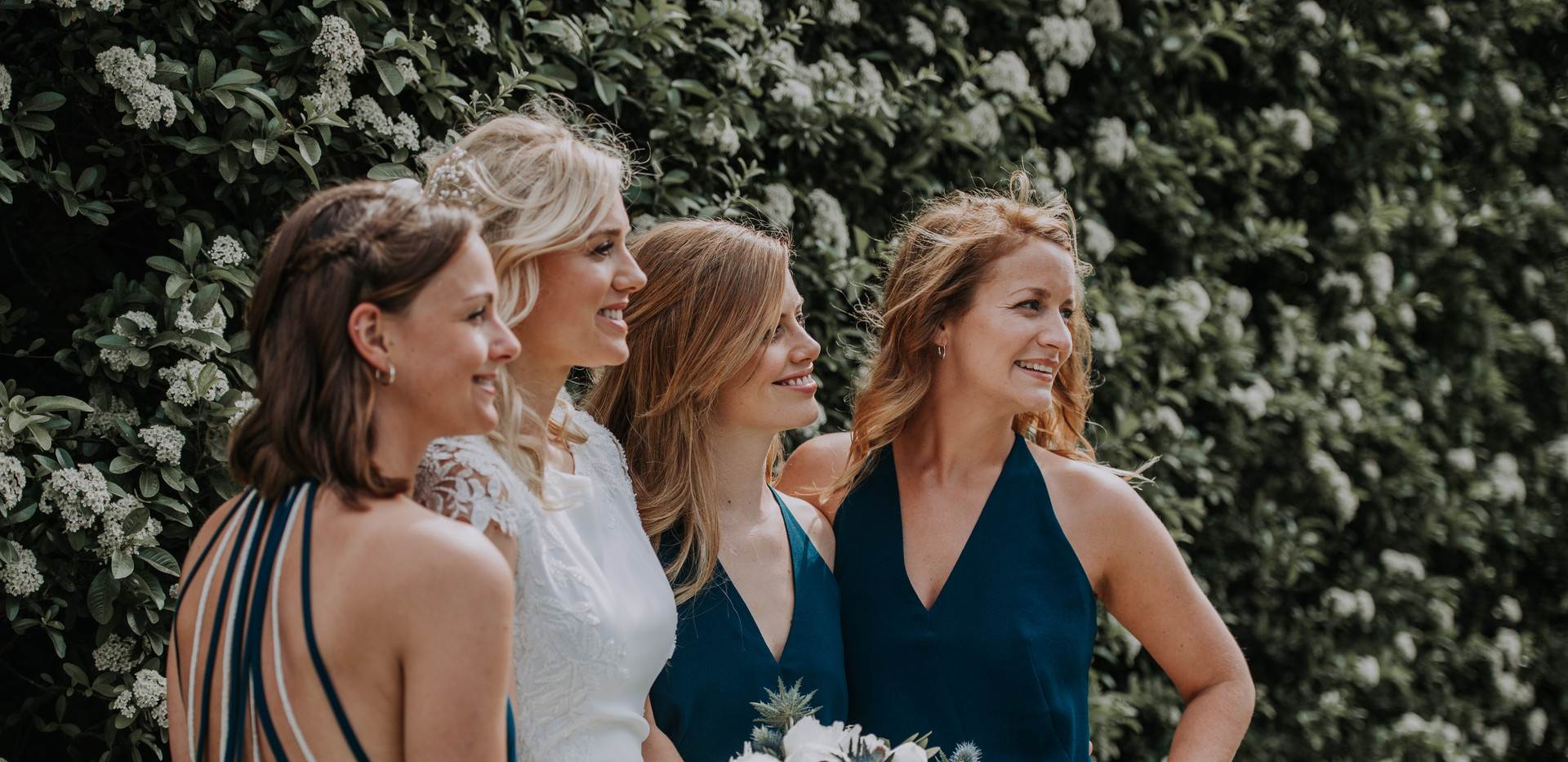 bride and bridesmaids at destination wedding