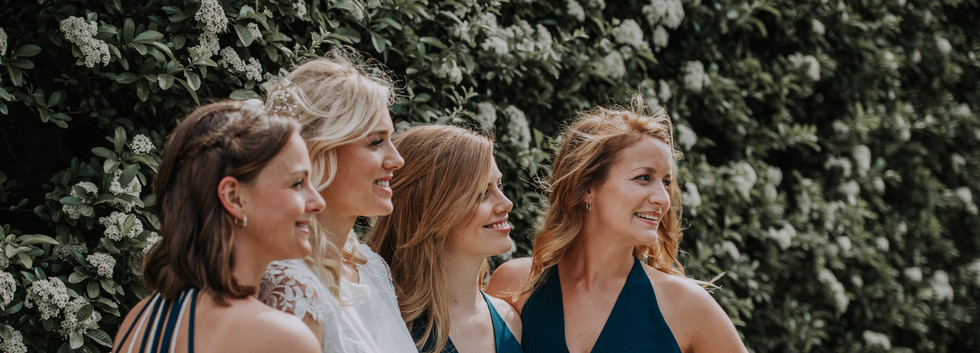 bride and bridesmaids at destination wedding