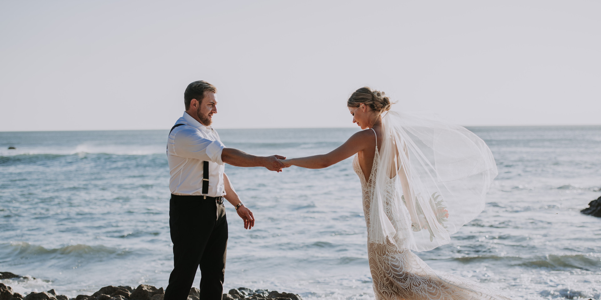 Bride and Groom dancing on the beach Costa Rica