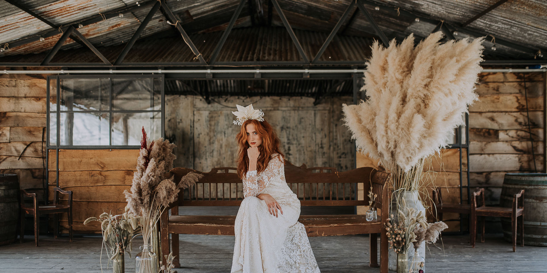 Boho bride at The Dreys in with Pampas Grass