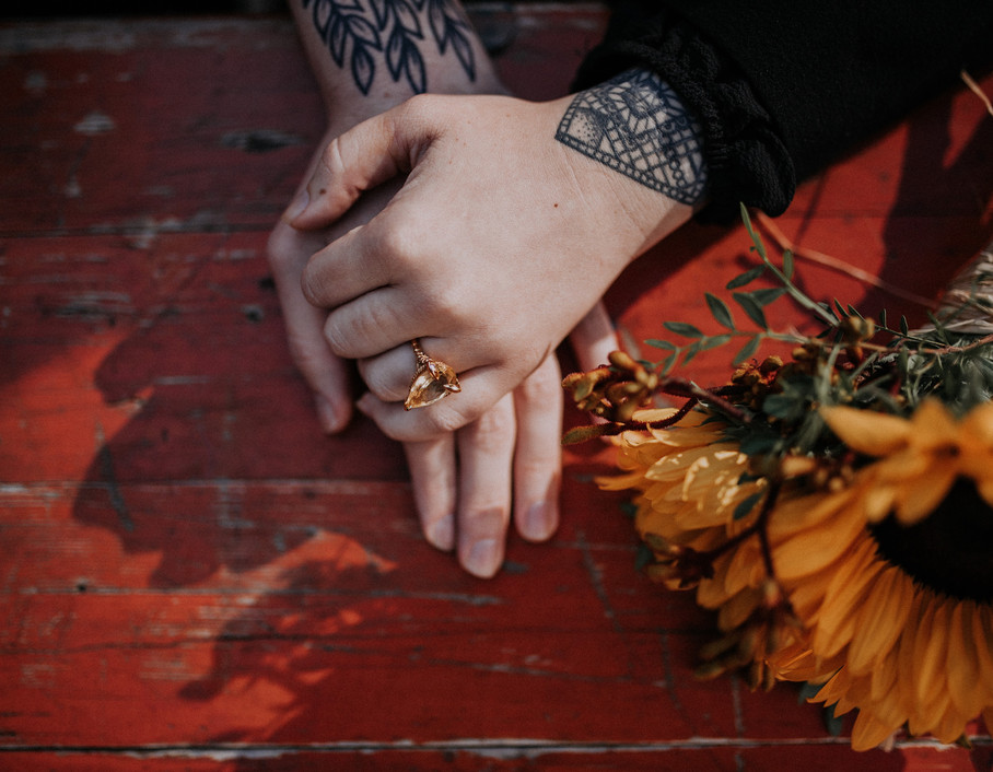 Wedding tattoo holing hands