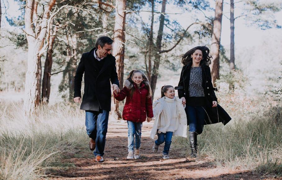 Family running on photo shoot