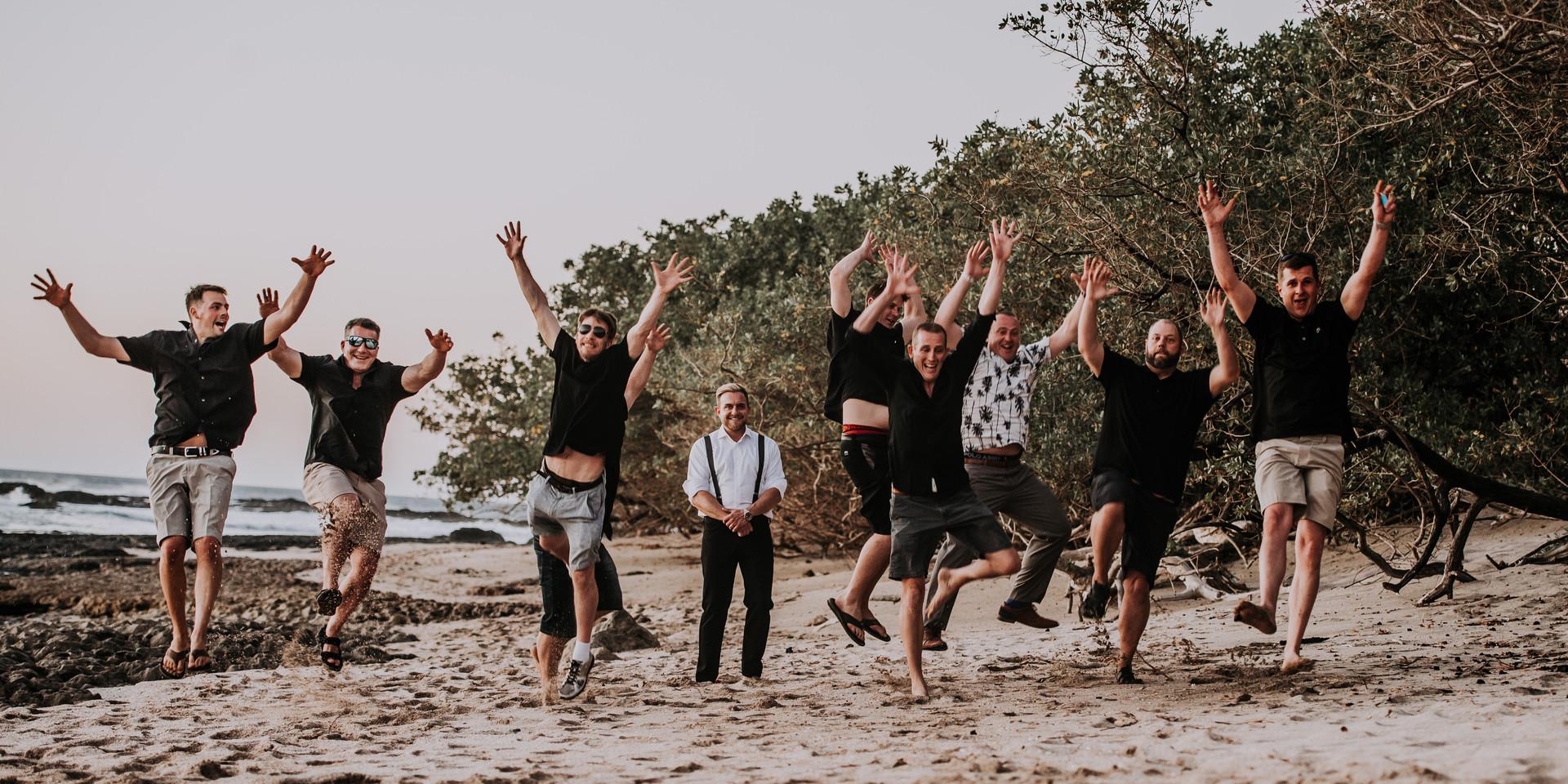 Groomsmen Jumping on the Beach on Tamarindo