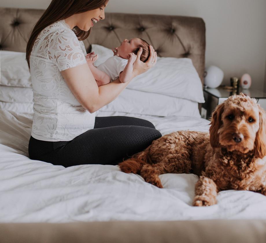 Newborn Baby Home Photoshoot Mum and Dog