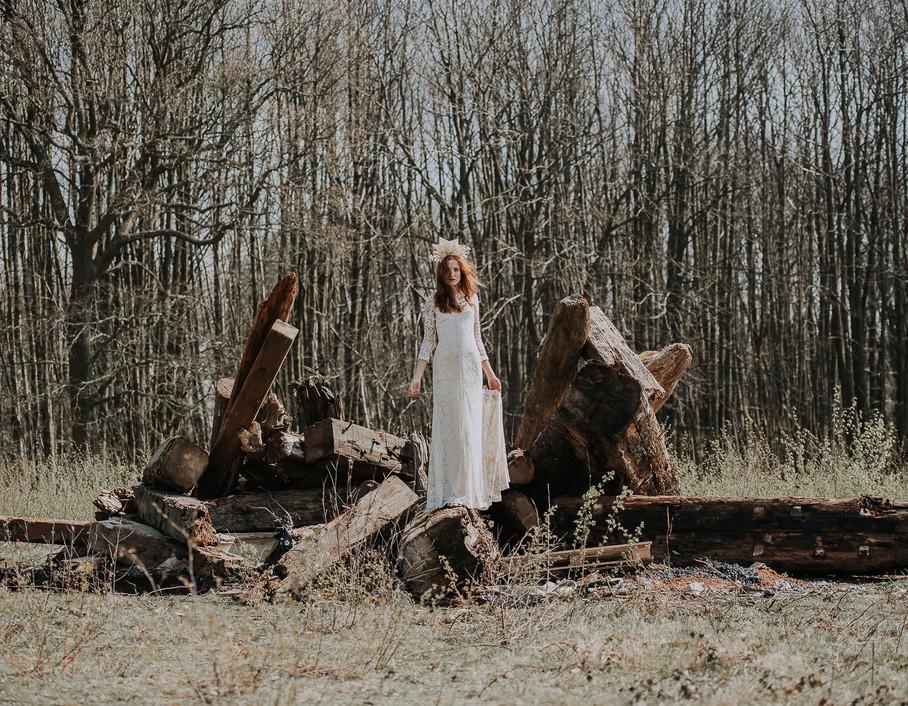 White wedding woodland witch
