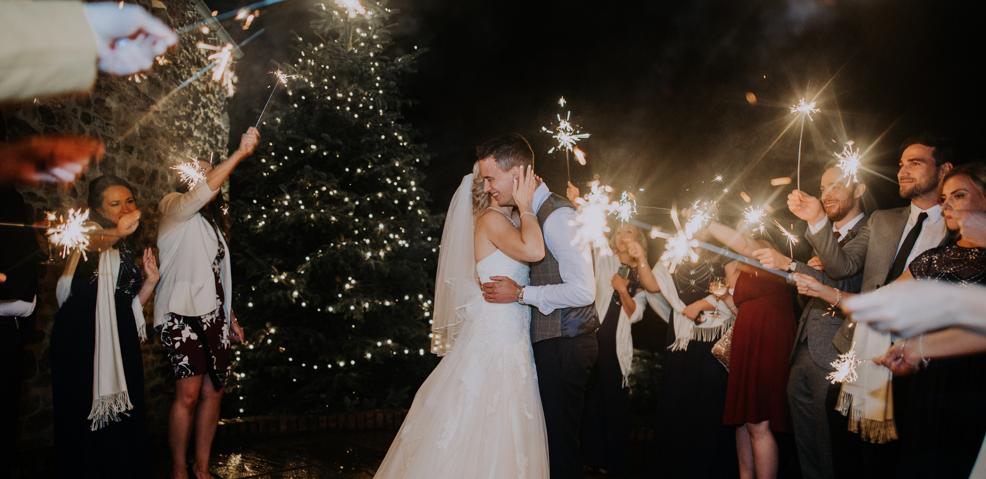 bride and groom eith sparklers