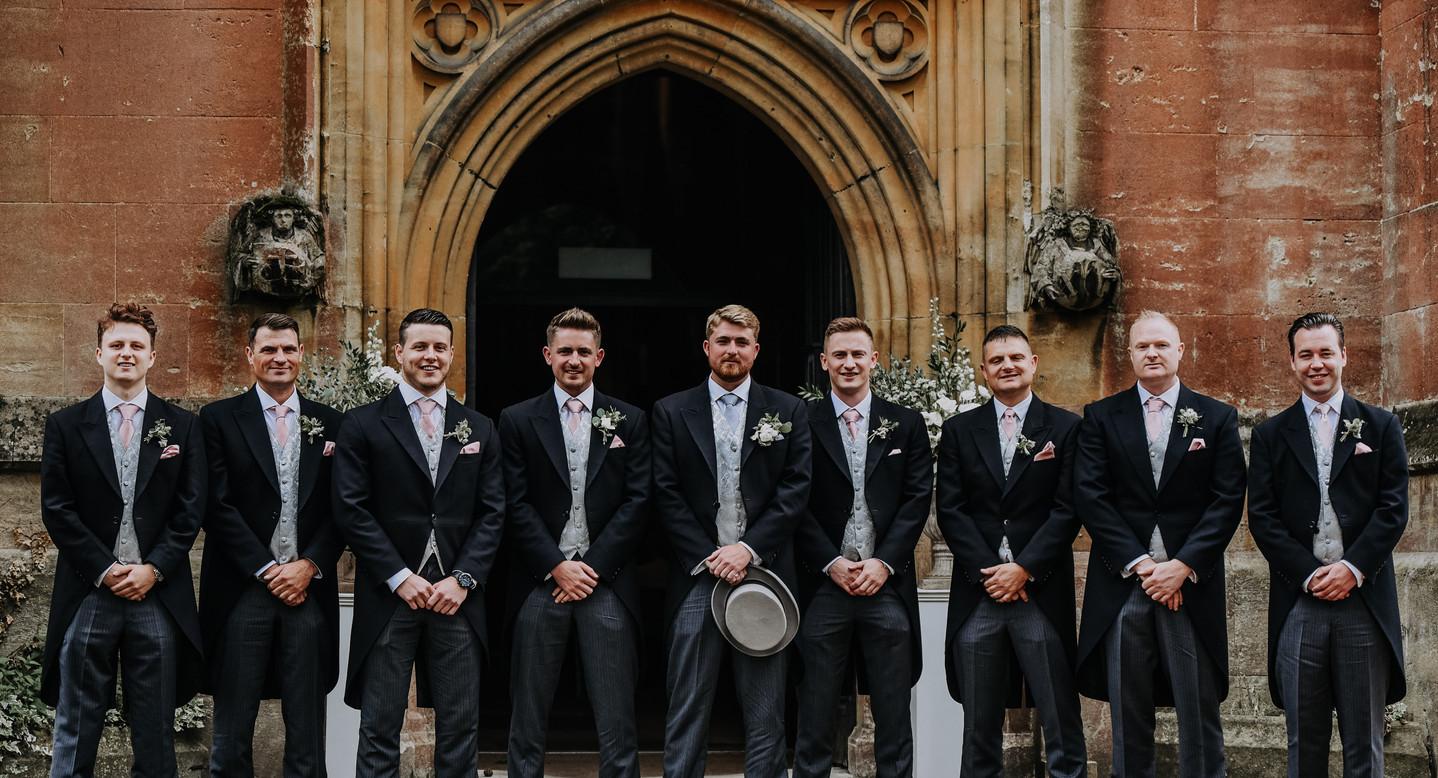 groomsmen outside church