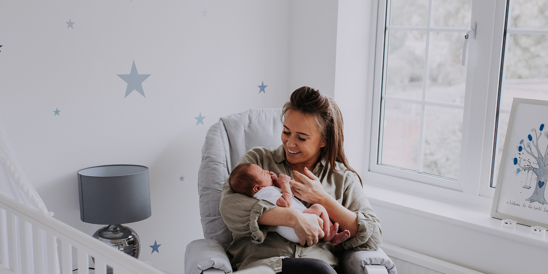 Newborn Baby Home Photoshoot in nursury