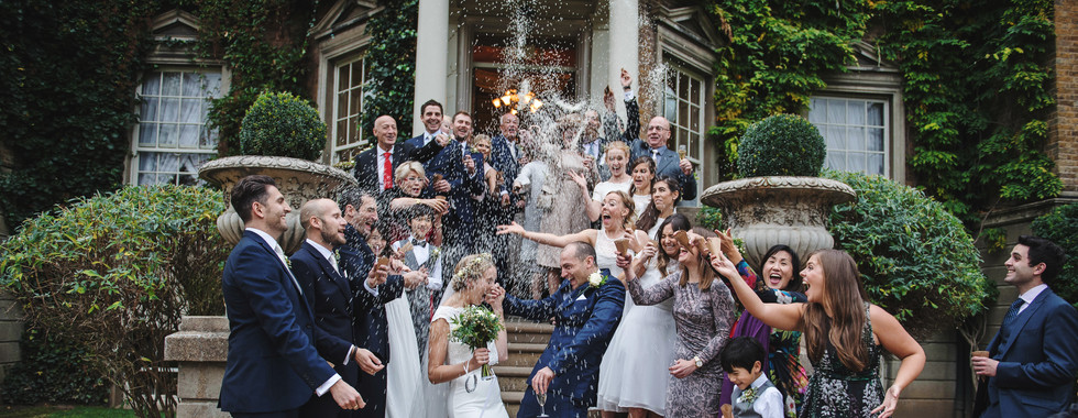 Bride and Groom confetti shot using Rice