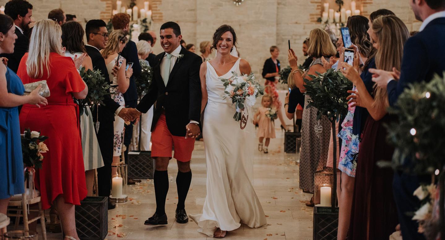 wedding couple leave ceremony