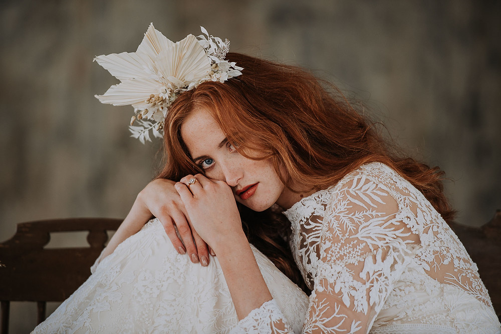 bride on eco shoot wearing vegan make up