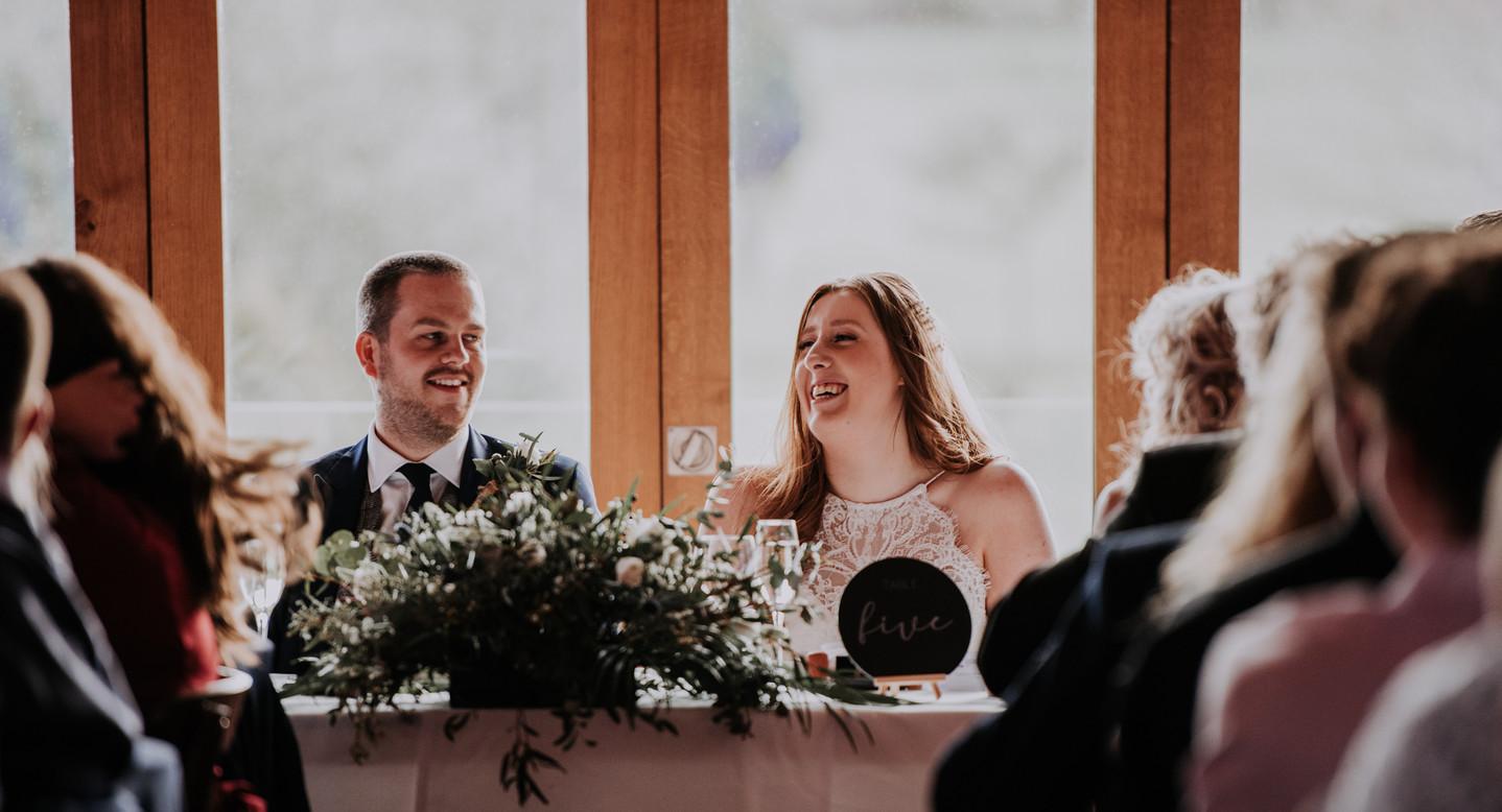 bride and groom at wedding breakfast