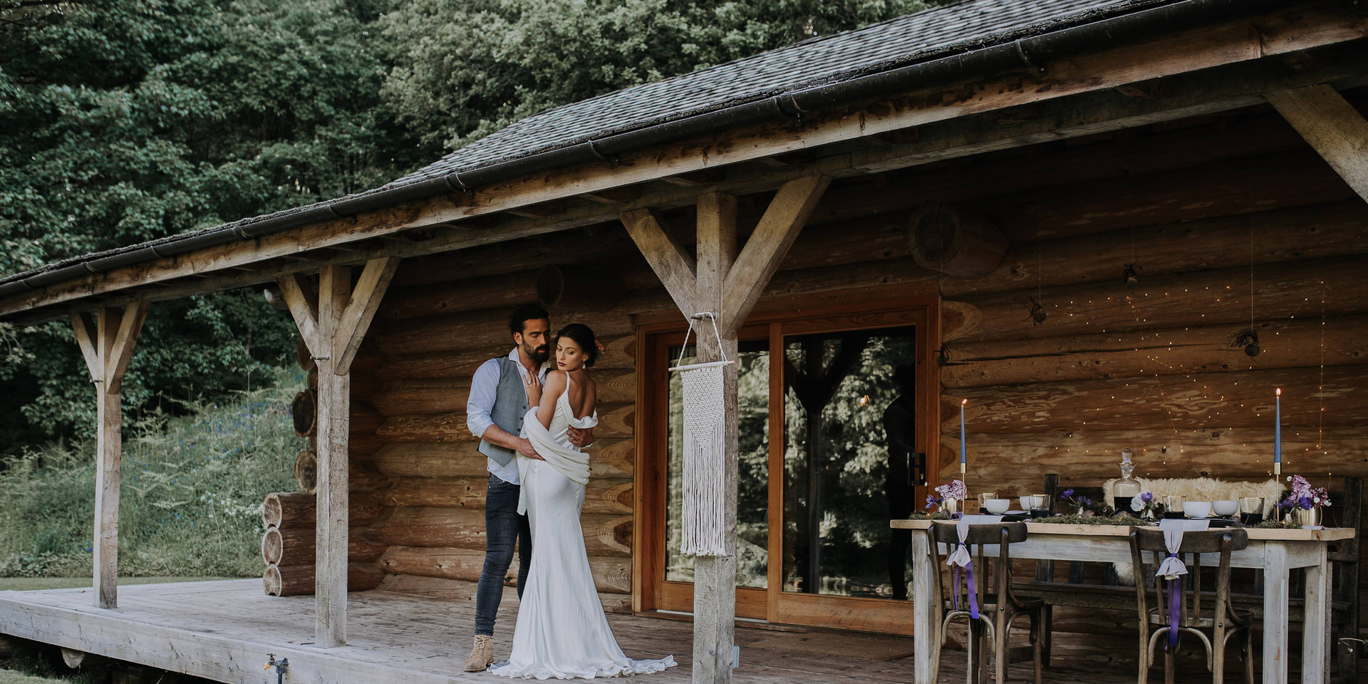 Bride and Groom at Eco log cabin the Lake District Wedding Photography