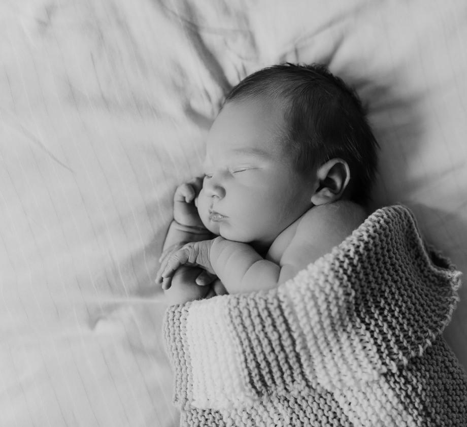 Newborn Baby Home Photoshoot with crochet blanket