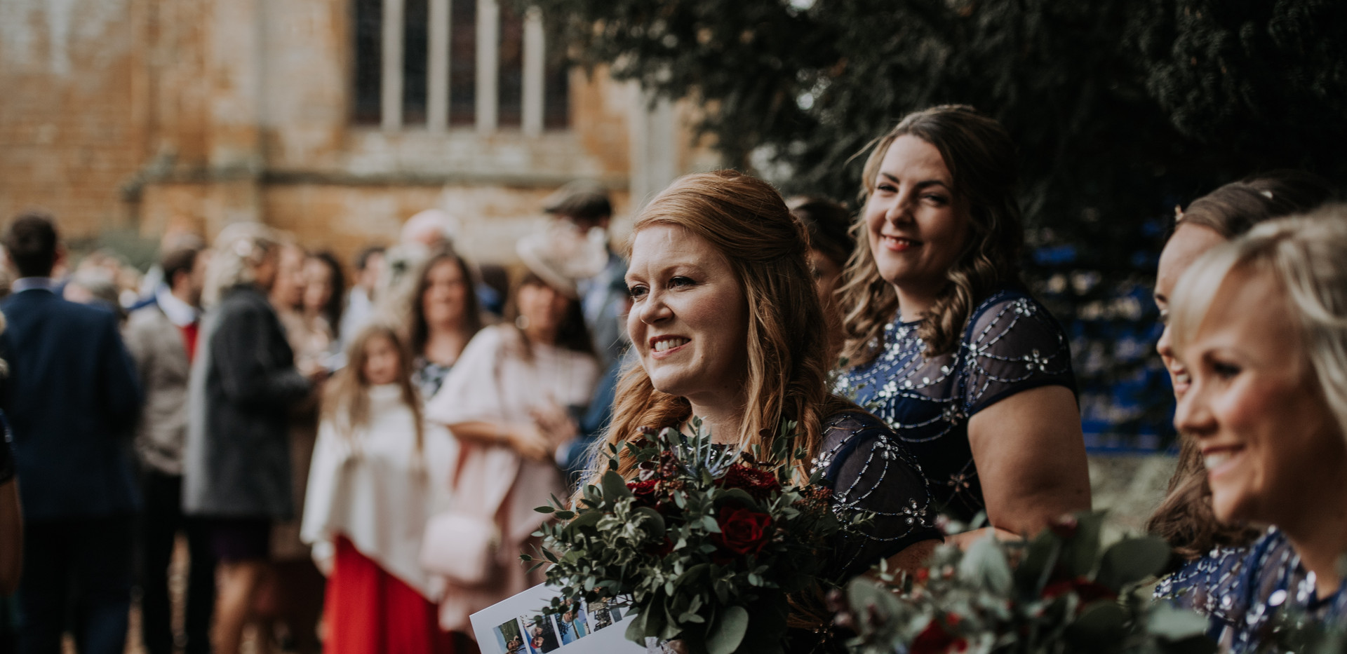 wedding guests smiling