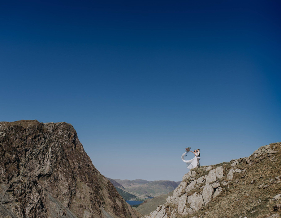 Bride and groom at mountain elopement in the lake district wedding photography