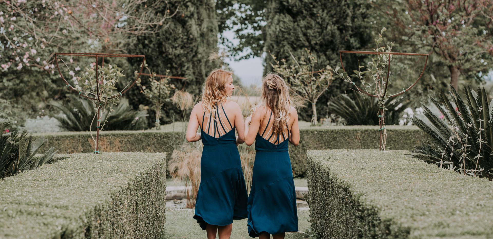 bridesmaids in sicily at wedding