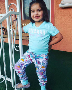My sweet niece in the outfit I made her for her birthday! #PrincessSquadGoals #juniperjoggers #Strip
