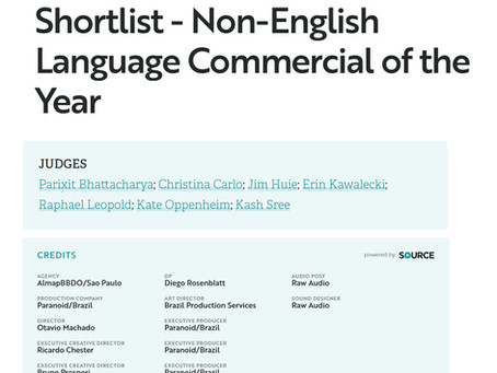 Shortlist - Non-English Language Commercial of the Year.