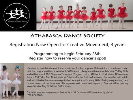 Registration now open for Creative Movement 3!