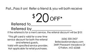 Belleza Salon $20 off referral card