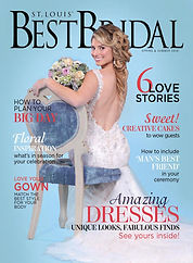 A bride with hair extensions holding a boquet of flowers sitting on a blue chair on the cover of St. Louis' Best Bridal Magazine