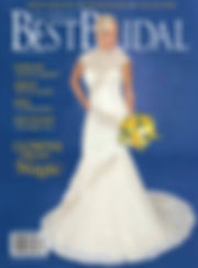 A blonde bride holding a boquet of flowers with her hair and makeup styled on the cover of St. Louis' Best Bridal Magazine.