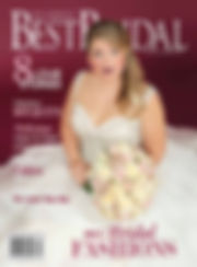 A bride holding a boquet of flowers with her hair styled and a wearing dark red lipstick on the cover of St. Louis' Best Bridal Magazine