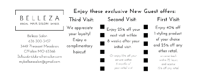 New guest promotions at Belleza Salon