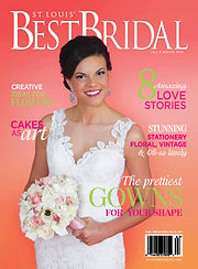 A brunette bride holding a boquet of flowers on the cover of St. Louis' Best Bridal Magazine.